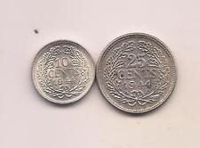1944-P Netherlands  Silver Ten & Twenty-five Cents--Unc with Mint Luster !!