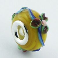 Murano Glass Bead Floral 16mm high sterling silver core for charm bracelet new