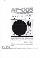 Akai  Bedienungsanleitung user manual owners manual  für AP - 005