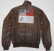 $1295 Rare Polo Ralph Lauren A2 Brown Leather Farrington Bomber Jacket L Large