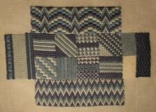 Blue Bargello Patchwork Needlepoint Completed Finished For Stool Chair Cover