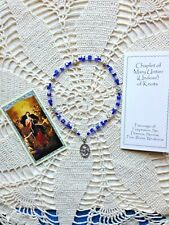 """NEW Hand-made """"OUR LADY UNTIER of KNOTS Chaplet"""" 4-6mm Square Cube Crystal Bds"""