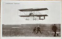 French Realphoto Aviation 1908 Postcard: Airplane / L'Aeroplane Farman