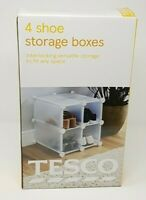 TESCO 4 Shoe Storage Boxes - Interlocking & Versatile ( Several can be Linked )