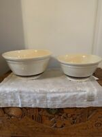"McCoy Set Of Two Mixing Bowls 12""/10"" Ovenware Stoneware USA Vintage"