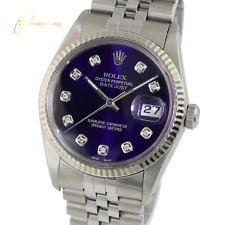 Rolex Men's Datejust 16014 Stainless Steel Purple Dial Fluted Bezel  36mm Watch