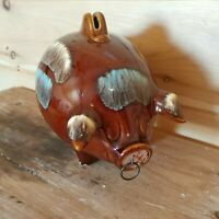 Vintage Hull Pottery #197 Pig Piggy Bank Cork Snout Ring Brown Drip Majolica