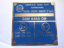 Typenschild Lancia plate schild Fulvia Coupe Rallye 1,3 HF IGM 5001 OM
