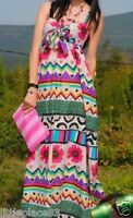 KILLAH NEW floral print bright cotton strappy Boho Hippie maxi dress size 8/10 S