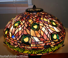 af3c15d0b5d Tiffany Reproduction Peacock Stained Glass Lamp Shade Purple - 18