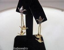 11mm Hawaiian 2-T 14k Gold Sadako Peace Crane Wings Up Origami Stud Earrings #2