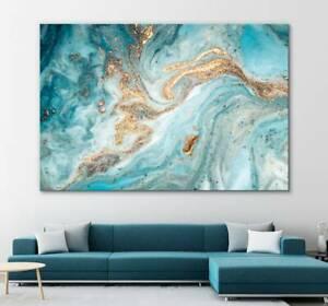 Marble Canvas   Modern Art   Turquoise Mixed Canvas Painting Print Unframed