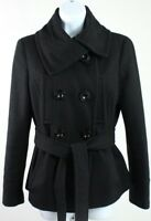 Zara Basic women's Large Black Wool Blend Pea Coat double breasted button up