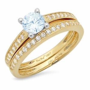 1.20ct Round Cut Pave Blue Stone Wedding Statement Ring set Real 14k 2 Tone Gold