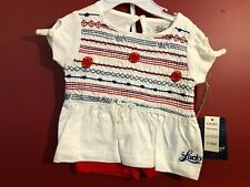 LUCKY BRAND Girl's White/Red T-shirt and Shorts 2-pc Set - Size 3-6M - NWT $44