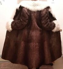 Nutria Real Fur Coat Fox Notched Collar Cuffs Brown Ivory Lined French Hem S / M