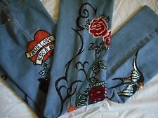 ESCADA Vintage Pants Jeans 8 38 Denim Embroidered Tattoo True Love Sequin Heart