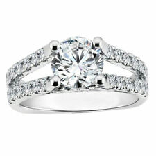 Cut 14K White Gold Engagement Ring Diamond Solitaire Moissanite 2.30 Ct Round