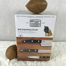 Chicago Cutlery METROPOLITAN 15-Piece Cutlery Block Knife Set NWT