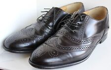 Vintage Barrington Mens Leather Wingtip Oxford 8.5D Black Burgundy Style 74543