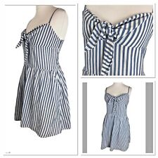 Blue Stripe Sun Dress A Line Casual Cotton Sweetheart NEW Tagged UK 14 R641