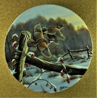 AS DAY BREAKS Plate On Golden Wings #3 Wilhelm J. Goebel Northern Bobwhite Quail