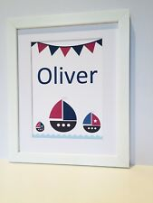 Nautical boat print boy gift personalised framed nursery bedroom name wall art
