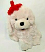 "Brand New Light Pink 12"" Dog w/ Red Beret Pizazz Plush Toy Stuffed Animal"