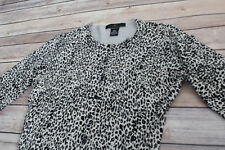 Silx August Silk Leopard Print 3/4 Long Sleeve Small Cardigan Sweater Top Small