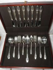 1847 ROGERS Bros FIRST LOVE Pattern 44 Pc FLATWARE SET in Mahogany Box Svc For 8
