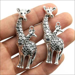 20pcs Large giraffe Antique Silver Charms Pendants Jewelry Making DIY 54*27mm