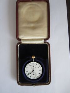 Antique Swiss Chronograph Pocket Watch Movement - Working - Fitted case