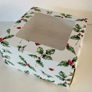 Pack of 5 CHRISTMAS CAKE BOXES 10'' x 10'' X  5'' FESTIVE  SQUARE clear / Window