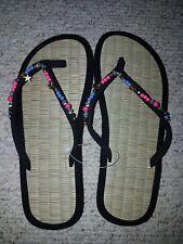 4aeaad1f041c93 Accessorize Lola Beaded Bobble Sea grass Flip Flops Size UK 1 2.5 Colour  Grey