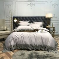 Luxury  Egyptian Cotton Bedding Set Lace Edge Duvet Cover Bed Sheet Pillowcases
