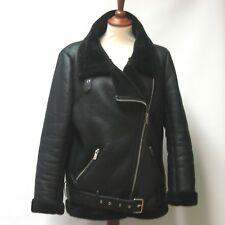 ZARA WOMAN BLACK AVIATOR FAUX SHEARLING FUR LINED BIKER JACKET SIZE EU LARGE
