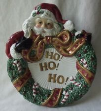 """Fitz And Floyd 2001 Collectors Series """"Santa With Wreath"""" Canape Plate 9-1/2"""""""