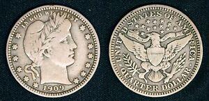 1909 25c Barber Quarter Dollar Philadelphia Mint Silver Coin