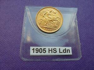 1905 Edward VII Gold Half Sovereign London Mint