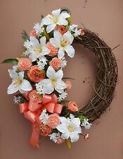 "23"" Lily Spring Peach Cream Floral Door Grapevine Wreath Handmade"