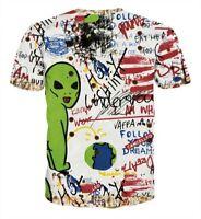 Men/Women Alien Graffiti Hip-hop Round Neck Short-sleeved Tee LOVER T-shirt