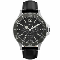 Timex Men's Watch Harborside Quartz Black Dial Leather Strap TW2U12900VQ