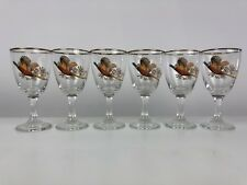 Vintage Set Of 6 Pheasant Liqueur Sherry Glasses Retro