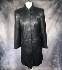 Marks & Spencer Black 100% Leather Long Line Trench Coat Soft Vintage UK 14