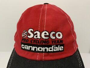 Vintage Cannondale Hat Podium Cap Saeco Pro Cycling Team Red Black USA Excellent