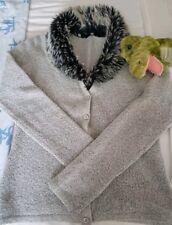 Cardi~ Soft ~Beautiful Fur Collar ~Removable ~Washable ~ Size 10 Grey