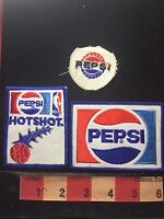 3 Old PEPSI COLA SODA POP Advertising Patch Lot-One NBA Basketball Co-Brand 76YC