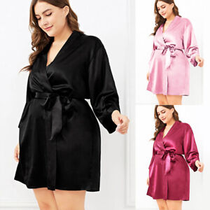Plus Size Womens Dressing Gown Ladies Sexy Satin Silk Robe Lingerie Night Dress