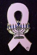 Breast Cancer Pin Pink Awareness Ribbon Jewish Menorah Lapel Silver Plated New