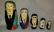 Vintage Wooden Russian Nesting Dolls USSR Soviet Leaders (5) Authentic Models